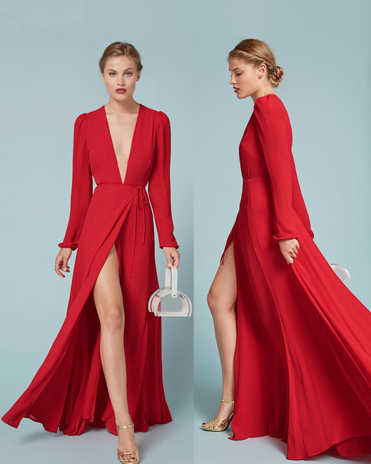 Red Bridesmaid Dress Reformation Thea