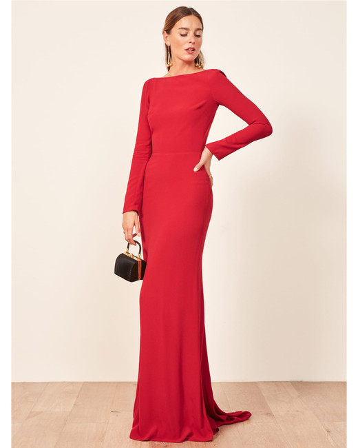 long sleeve red floor length gown