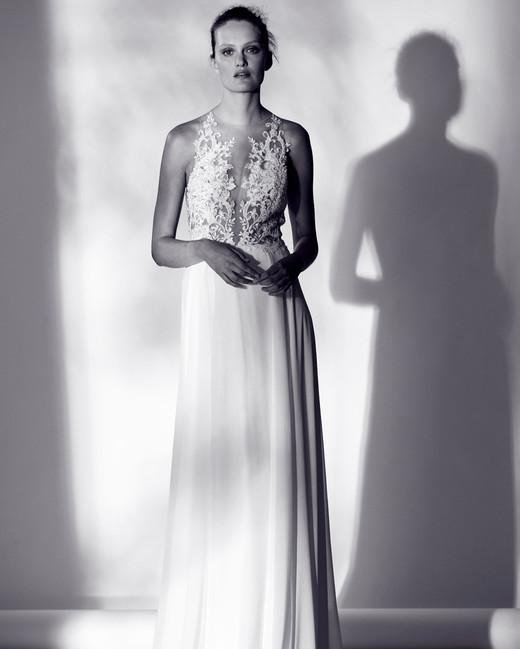 rivini embellished illusion v-neck wedding dress spring 2018