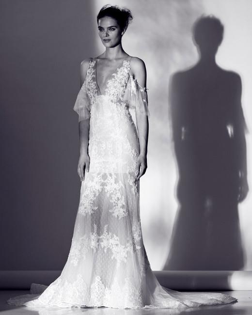 rivini sheer lace shoulder cut outs wedding dress spring 2018