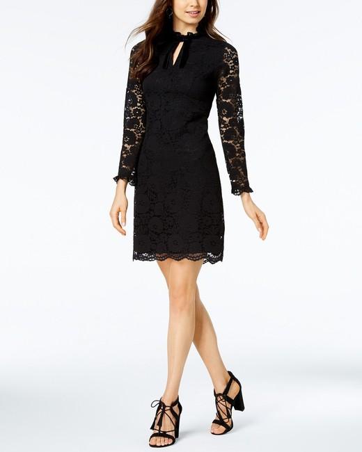 black keyhole lace knee length dress