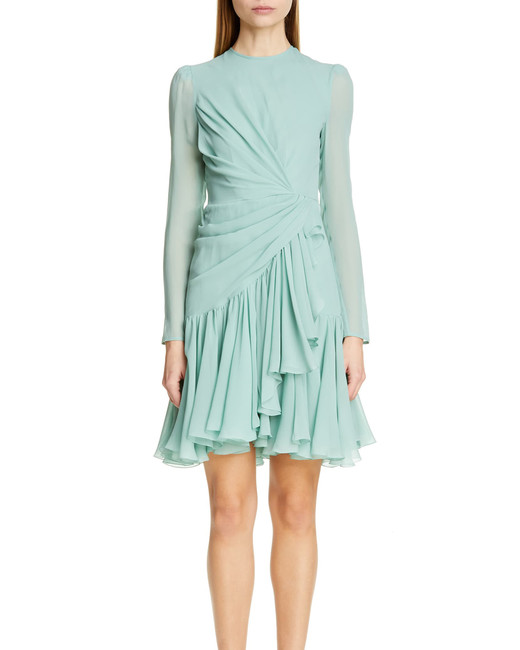 Giambattista Valli Long-Sleeved Ruched Silk Dress