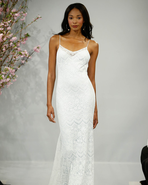 theia wedding dress spring 2018 spaghetti strap fringe bottom
