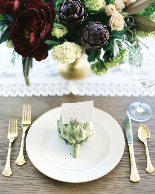Artichokes place card holders