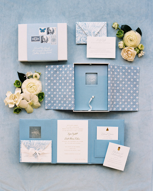 booklet stationery idea in shades of blue