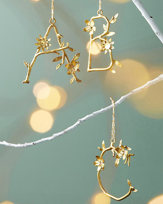 "Anthropologie ""Budding Monogram"" Ornament"