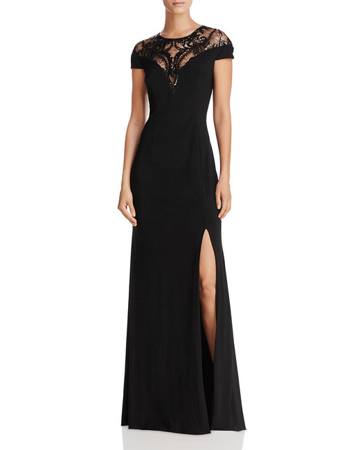 cap sleeve black gown