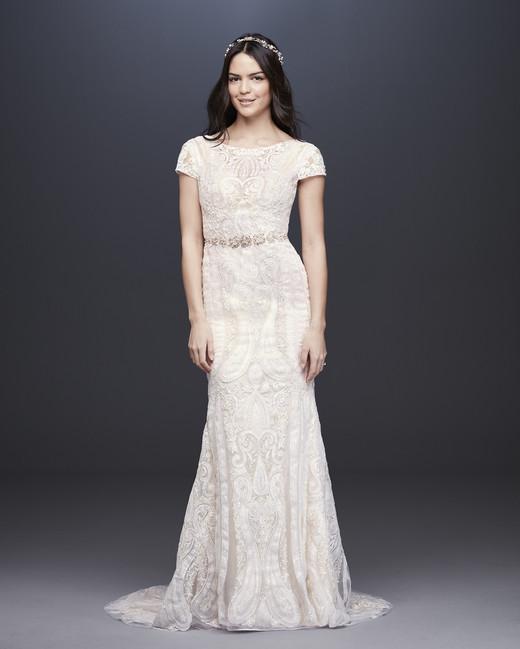 davids bridal melissa sweet fall 2019 mermaid bateau short sleeve cream lace overlay beaded belt