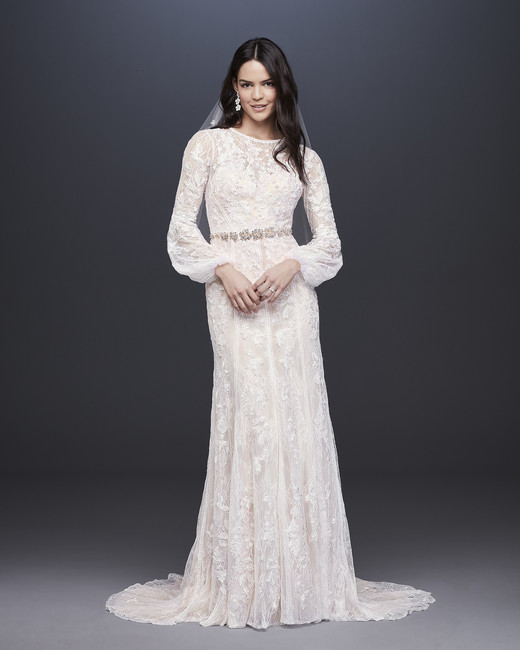 davids bridal melissa sweet fall 2019 trumpet high neck bell sleeves lace overlay beaded belt