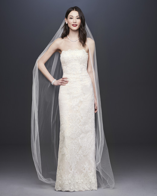 davids bridal oleg cassini fall 2019 sheath strapless beaded applique