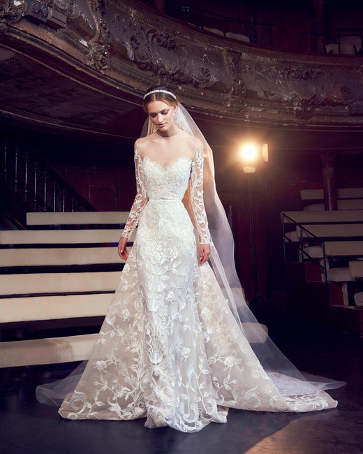 elie saab lace illusion neckline wedding dress fall 2018