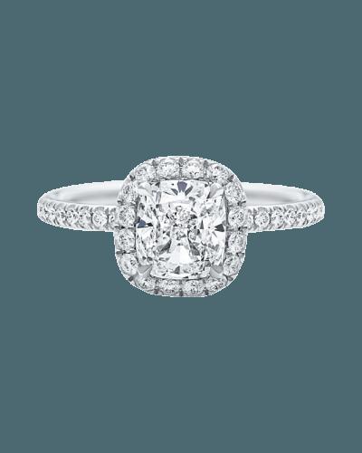 "Harry Winston ""The One"" Cushion-Cut diamond Micropavé Engagement Ring"