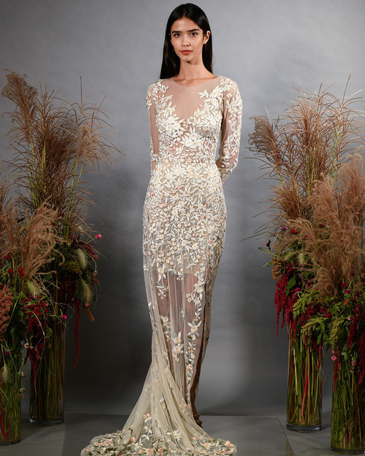 hermione de paula fall 2019 illusion high neckline long sleeve sheath with floral embroidery