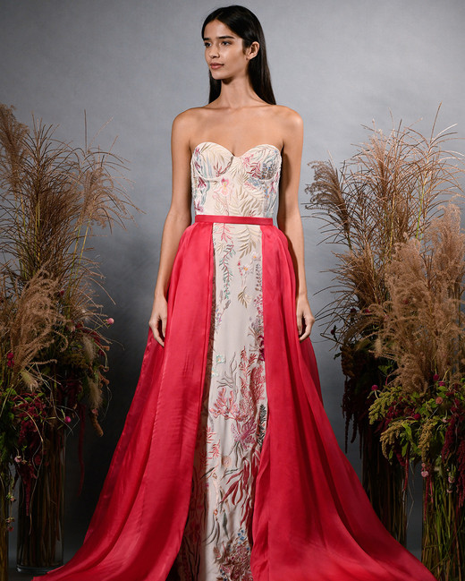hermione de paula fall 2019 sweetheart strapless sheath with red overskirt