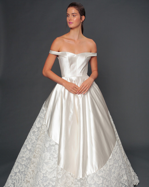 isabelle armstrong fall 2019 over the shoulder ball gown wedding dress