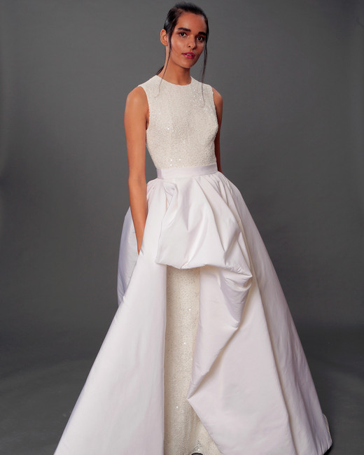 isabelle armstrong fall 2019 high neck ball gown glitter wedding dress