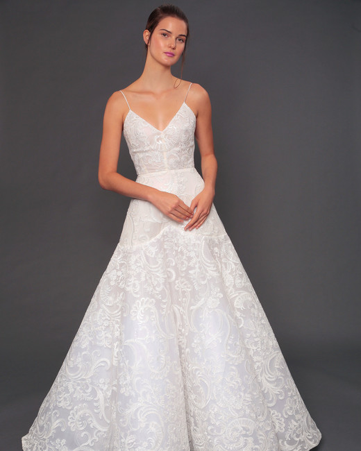 isabelle armstrong fall 2019 spaghetti strap floral applique wedding dress