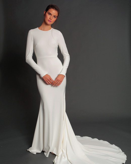 isabelle armstrong fall 2019 long sleeve trumpet wedding dress