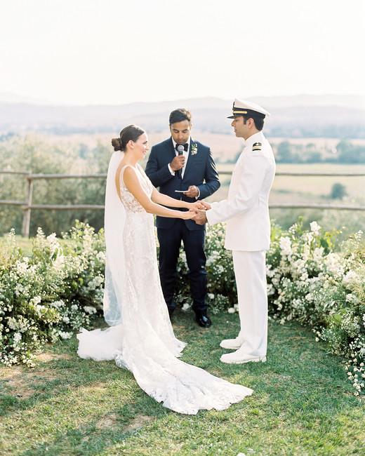 kseniya sadhir wedding outdoor ceremony couple and officiant