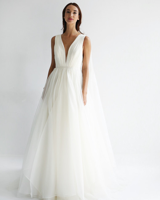 leanne marshall wedding dress spring 2019 sleeveless a-line deep v tulle