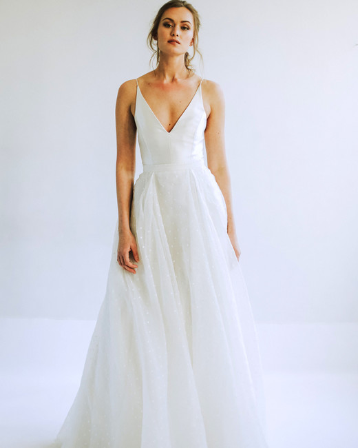leanna marshall spaghetti strap v neck a line wedding dress spring 2020