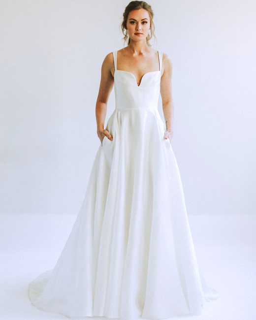 leanna marshall sleeveless short v neck a line wedding dress spring 2020