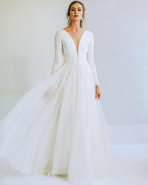 leanna marshall long sleeve deep slit bodice sheer ball gown wedding dress spring 2020