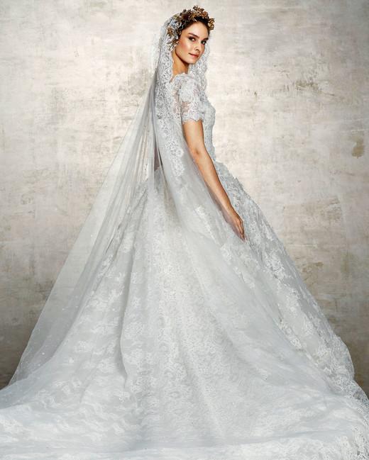 marchesa bridal wedding dress lace ball gown veil short sleeves