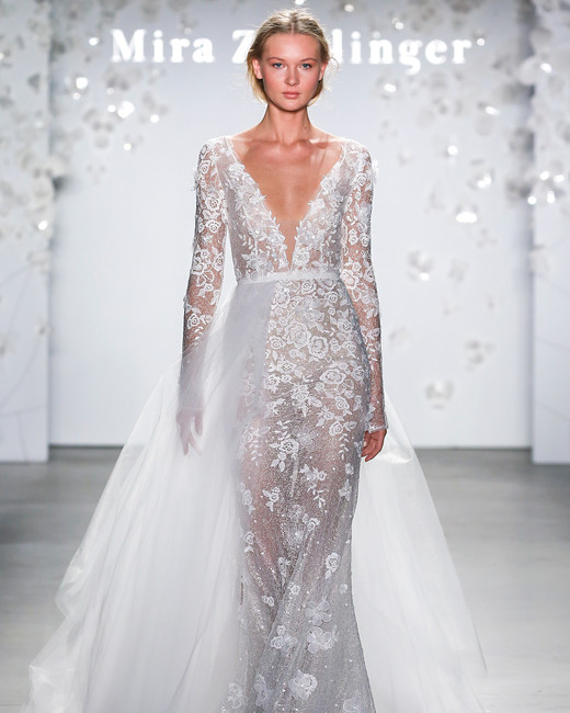 mira zwillinger plunging neck skirt overlay wedding dress spring 2020