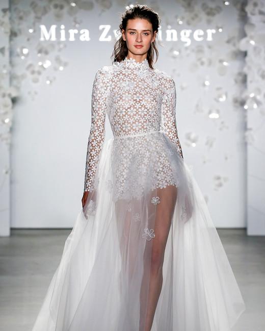 mira zwillinger long-sleeved skirt overlay wedding dress spring 2020