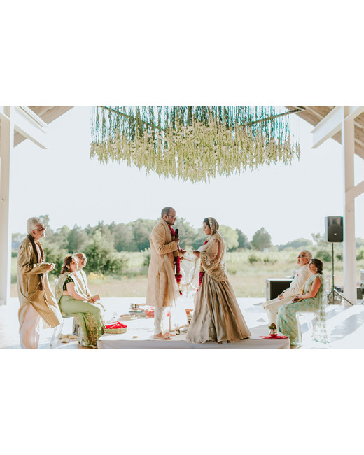 modern wedding hanging ceremony backdrop