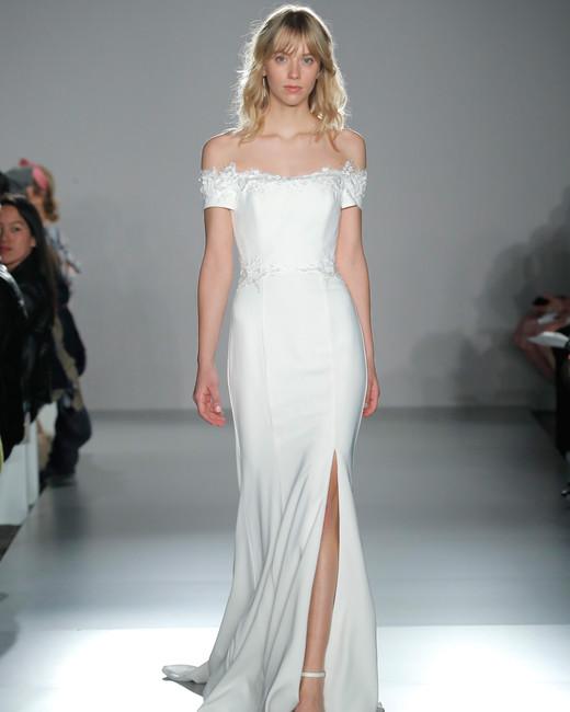 nouvelle amsale off-shoulder sheath wedding dress with slit spring 2020
