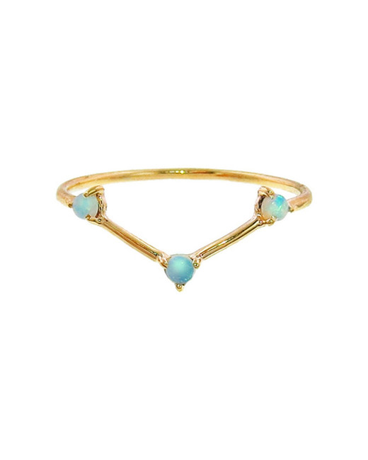 three stone opal triangle engagement ring