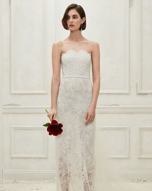 Oscar de la Renta sheer sheath wedding dress fall 2019