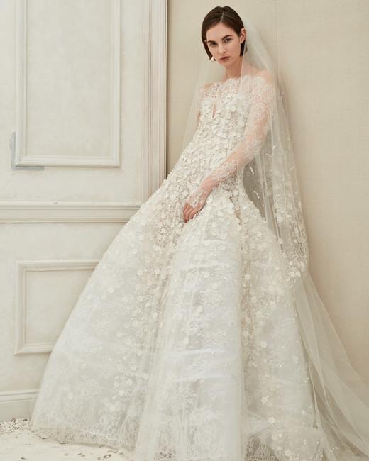 Oscar de la Renta high neck with veil wedding dress fall 2019