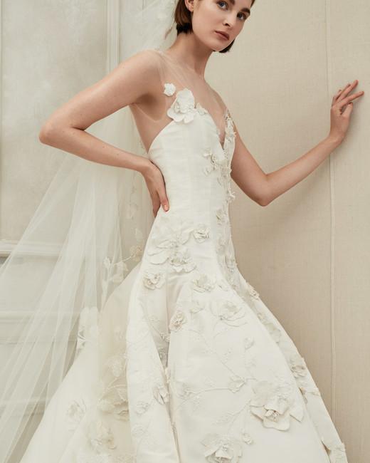 Oscar de la Renta illusion ball gown wedding dress fall 2019
