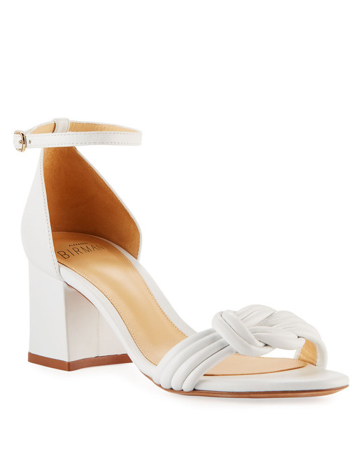 outdoor wedding shoes white knotted leather low-heel sandals