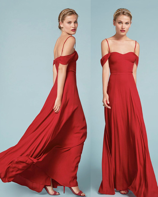 red bridesmaid dress reformation poppy