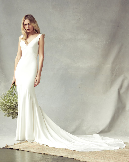 savannah miller v-neck sheath wedding dress spring 2020
