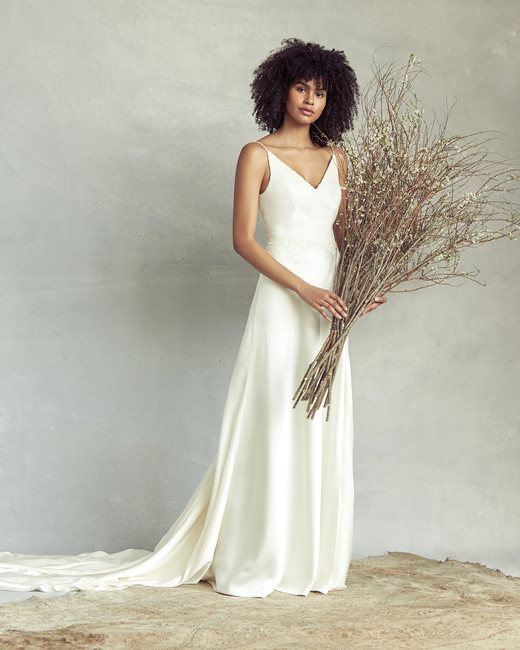 savannah miller spaghetti strap v-neck wedding dress spring 2020