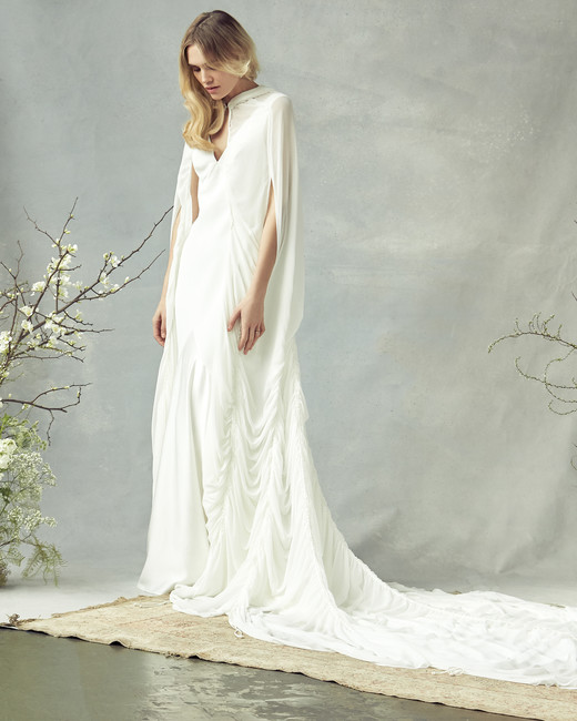 savannah miller v-neck with cape wedding dress spring 2020