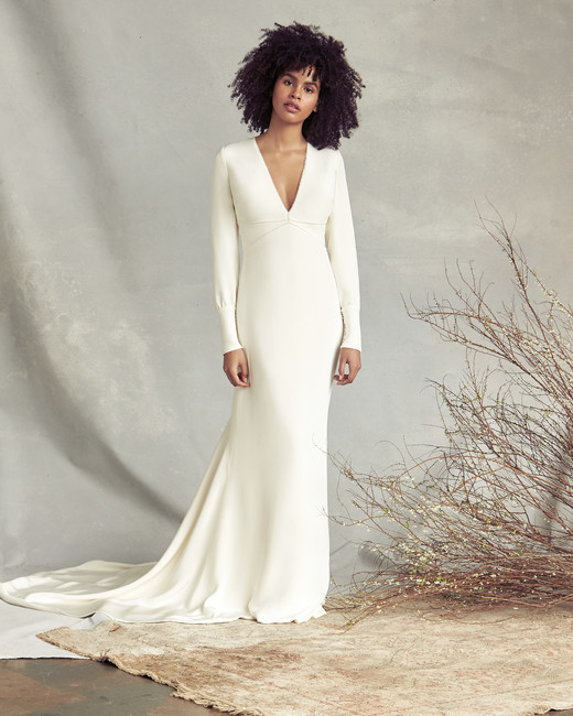 savannah miller v-neck long sleeve wedding dress spring 2020