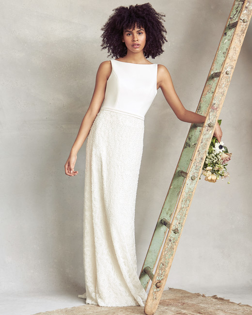 savannah miller high neck sheath wedding dress spring 2020