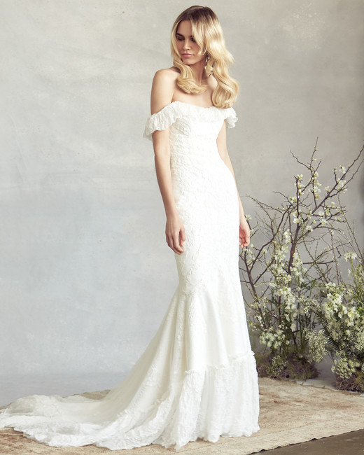 savannah miller off the shoulder mermaid wedding dress spring 2020