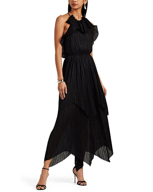 black pleated handkerchief skirt midi dress