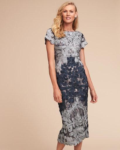 cap sleeve navy and gray soutache applique midi dress