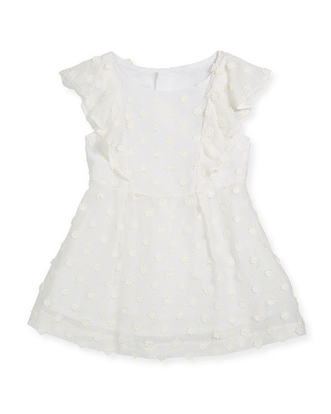 summer flower girl dress white yellow polka dots