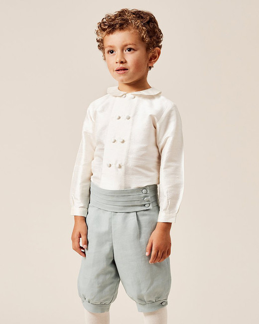 Pepa & Co. White Double-Breasted Peter Pan Collar Silk Shirt, and Teal Linen Knickerbockers