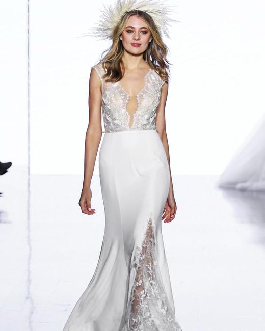 wtoo by watters trumpet deep v cap sleeves wedding dress spring 2020