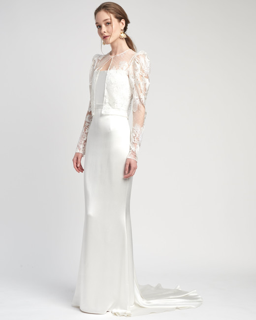 lace long puffed sleeves train a-line wedding dress Lover of Mine by Alexandra Grecco Spring 2020